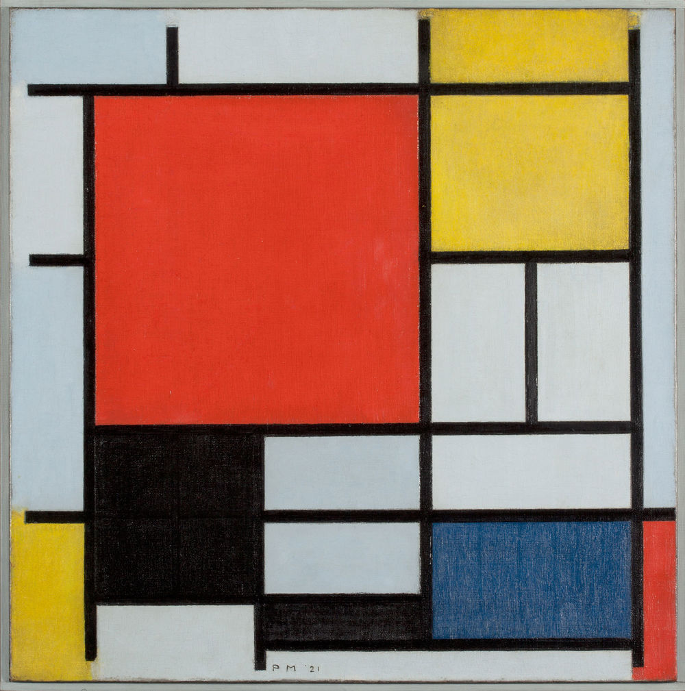 Composition with large Red Surface, Yellow, Black, Grey and Blue, 1921, Collection Gemeentemuseum Den Haag, Den Haag, Netherlands