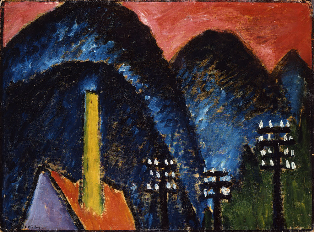 Alexej von Jawlensky, Blue mountains (landscape with yellow chimney), 1912, Museum Wiesbaden. Photo: Museum Wiesbaden / Bernd Fickert