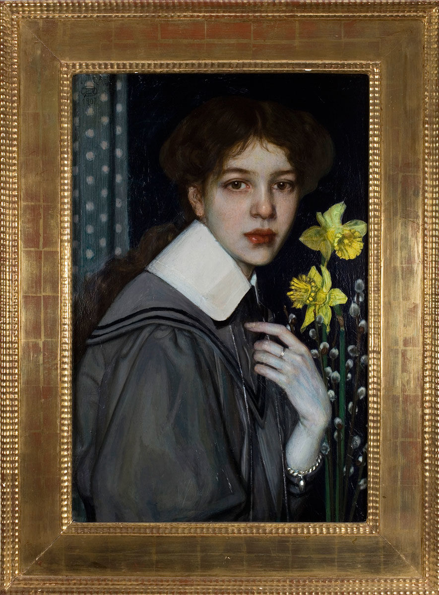 Oskar Zwintscher, Portrait with Yellow Daffodils, 1907, Collection F.W. Neess. Photo: Markus Bollen